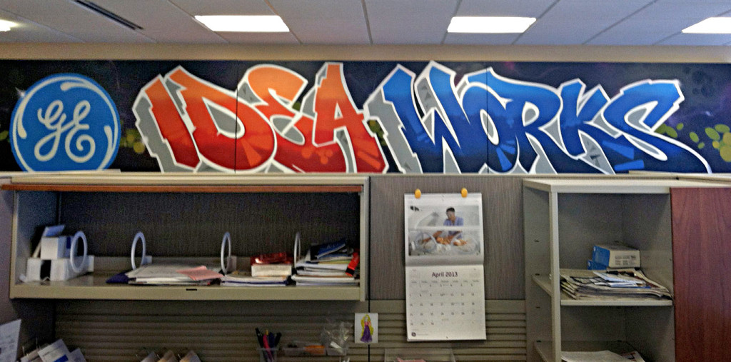 wood flat office graffiti GE Canvas