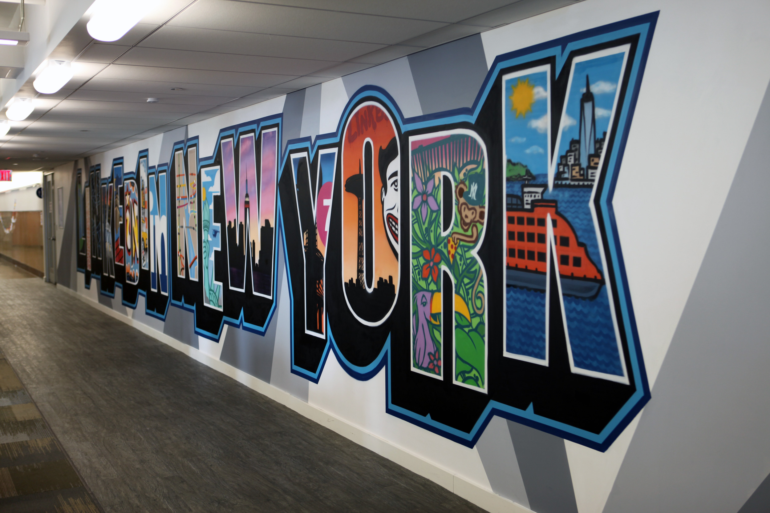 Linked in ny office graffiti murals graffiti usa for Corporate mural