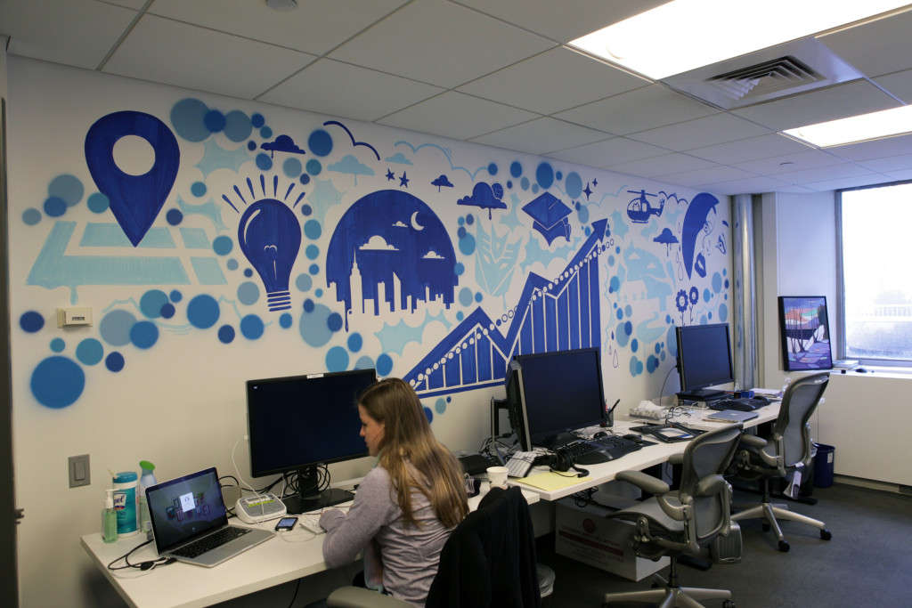 Facebook office in ny graffiti art installation for Corporate mural