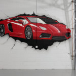 Man Cave Garage Ferrari Graffiti Mural in Long Island