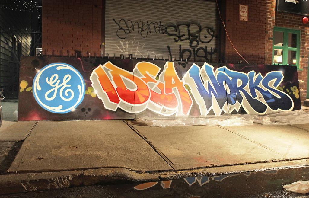 wood flat office graffiti GE mural Canvas