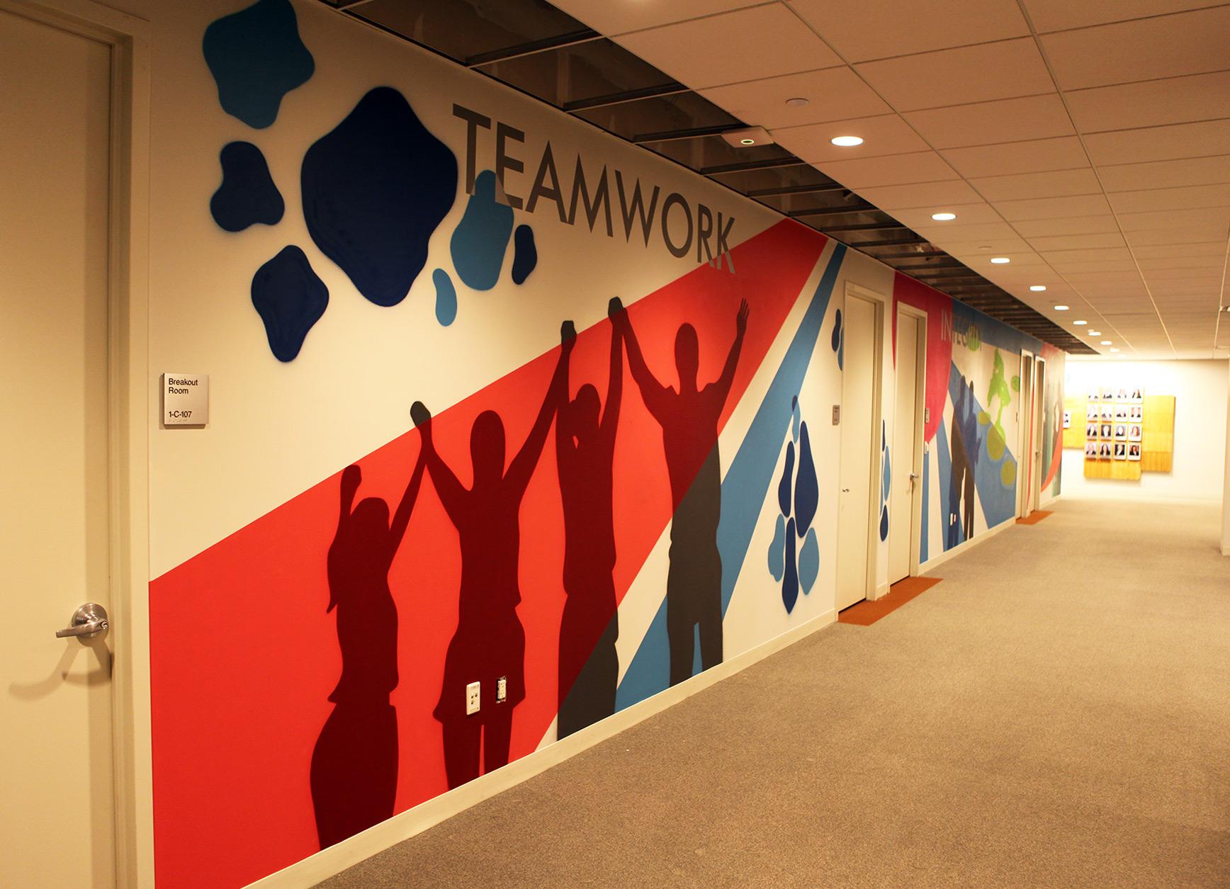 Teamwork street art mural in nj pharma graffiti usa for Corporate mural