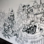 Black & White Graffiti Mural in Office NYC