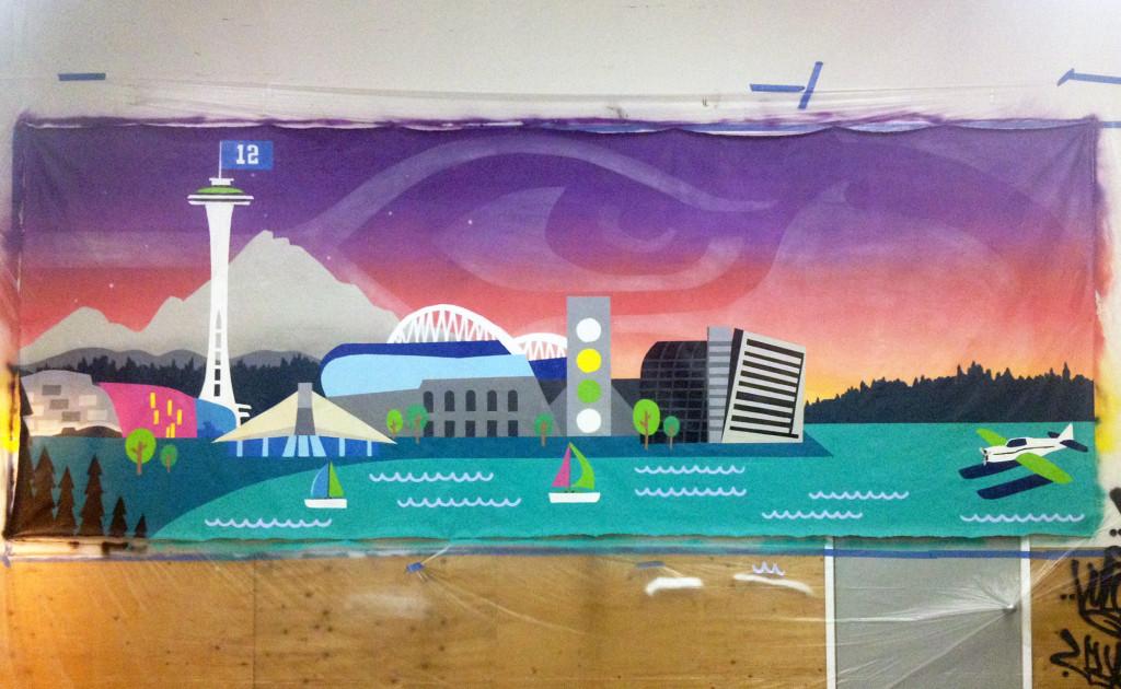 Seattle Seahawks Mural in Progress