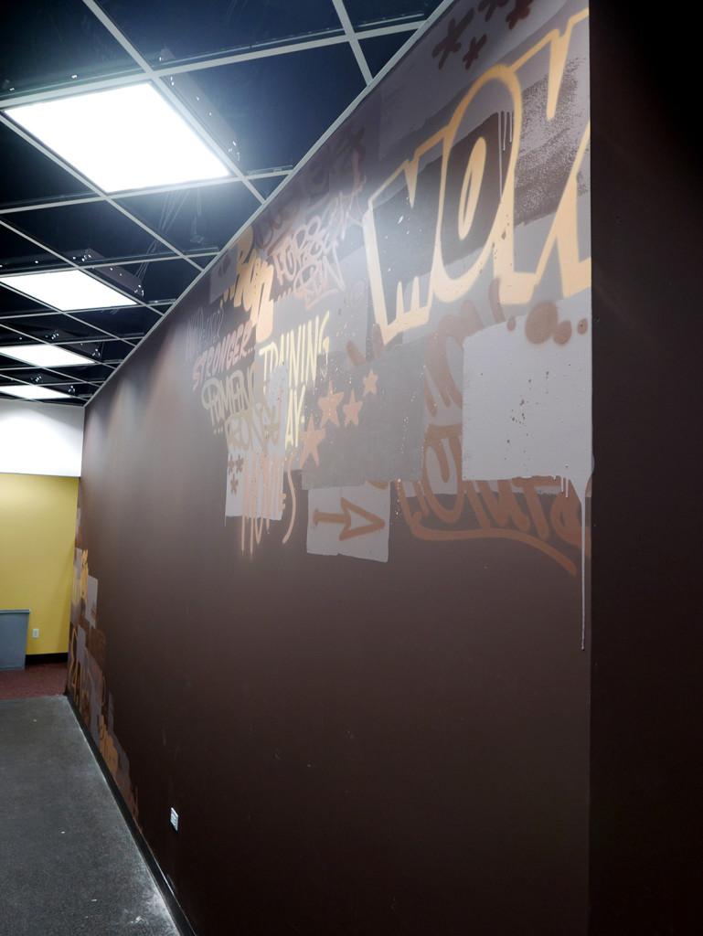 Brown Graffiti Tags in NJ Gym