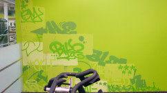 Green Cycle Room Street Art in NJ - Zapp Fitness