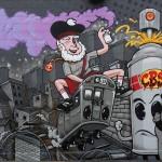 Rustoleum Character Graffiti Mural in LA Subway Car