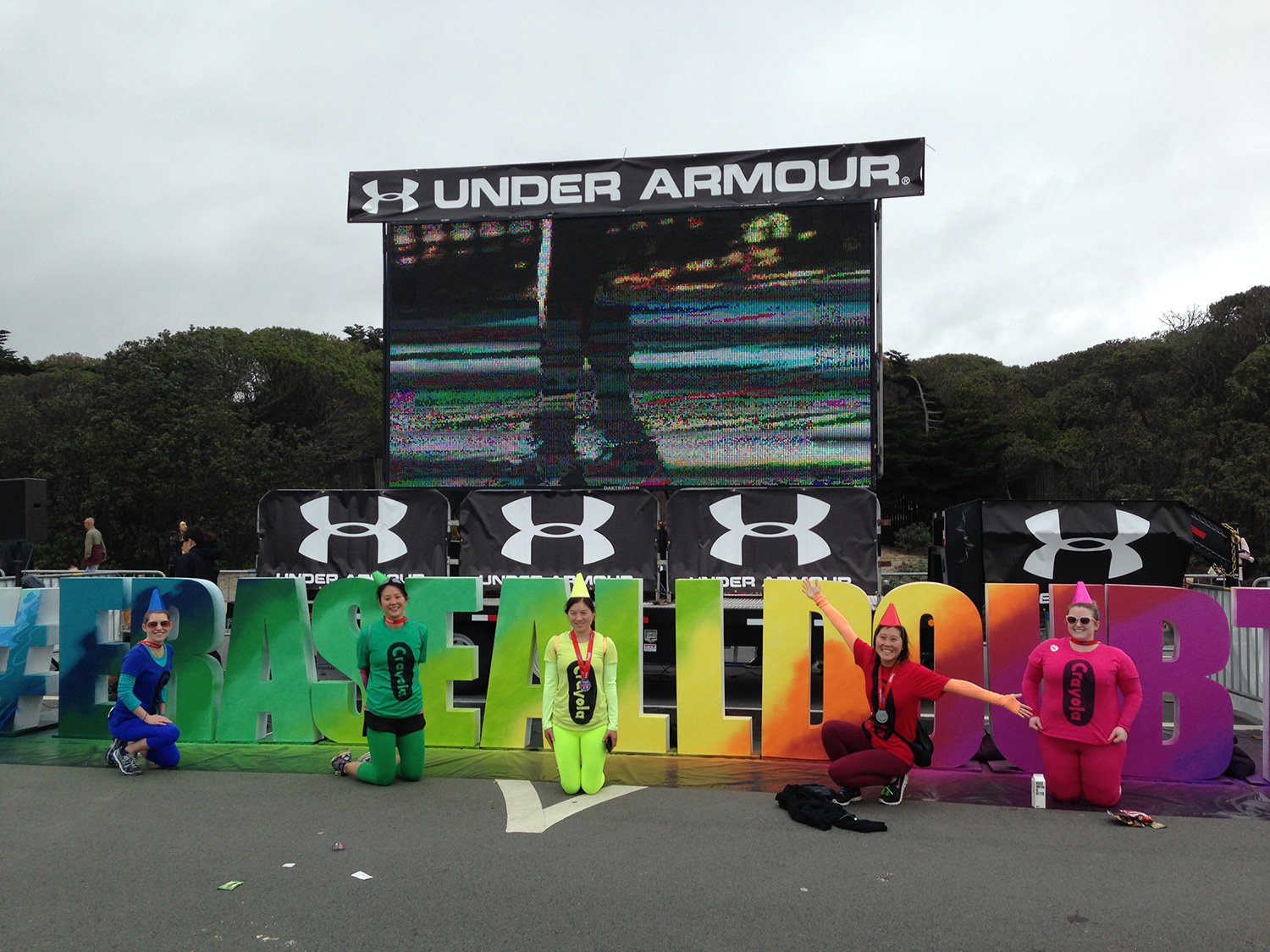 Colorful Marathon Runners Posing