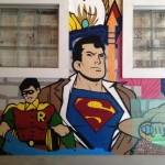 Superman Robin Cartoon Character Street Art in MN