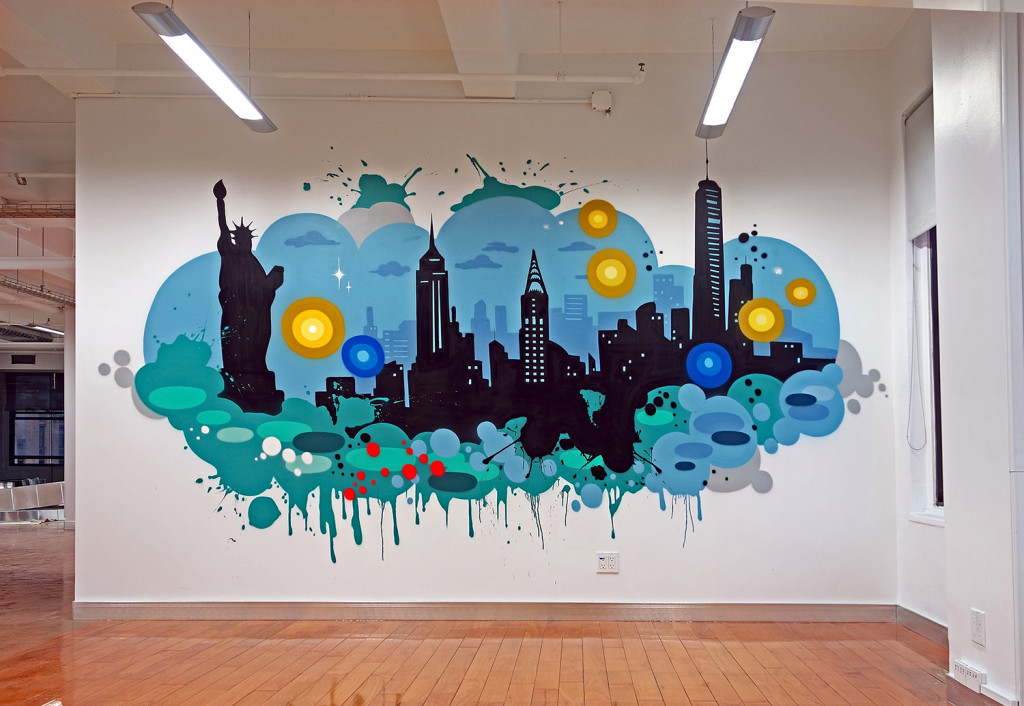 Nyc tech corporate office graffiti mural graffiti usa for Corporate mural