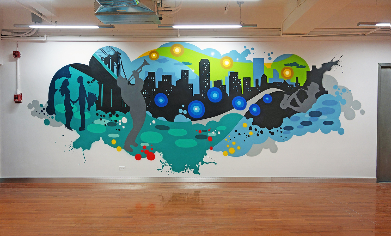 Nyc tech corporate office graffiti mural graffiti usa for Graffiti mural