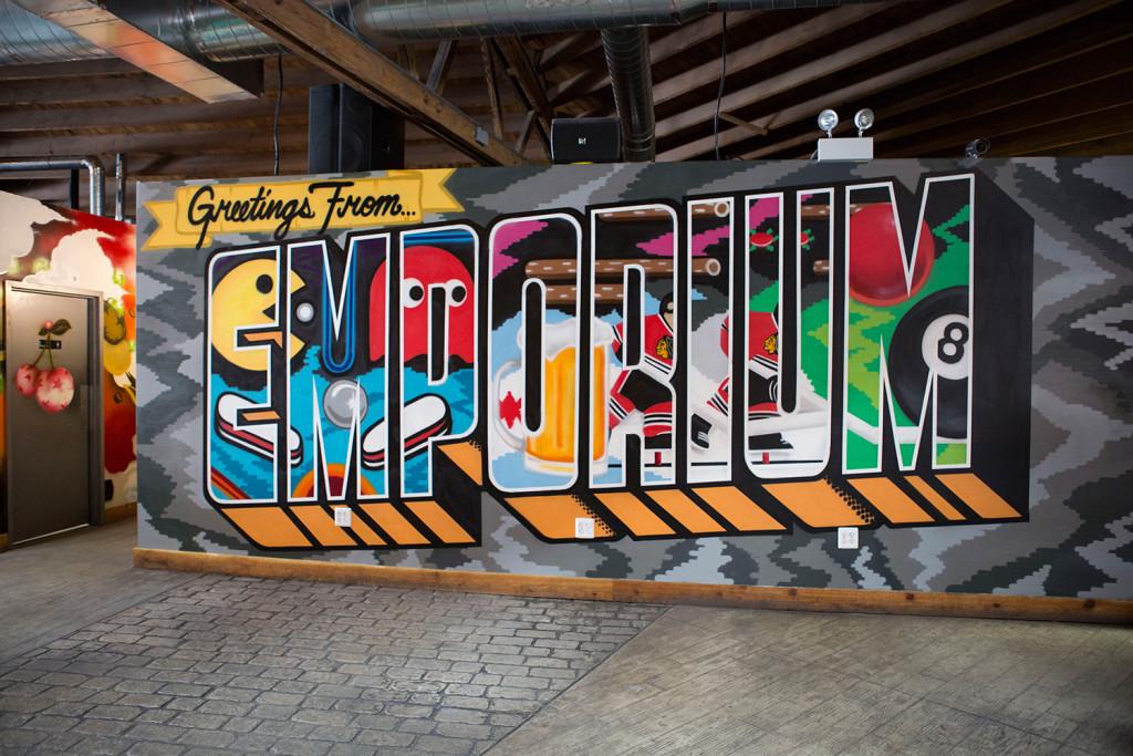 Chciago Postcard Mural in Arcade Bar
