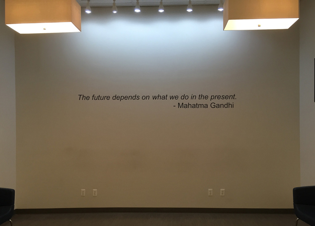 Font Sign Painting of Quote in Office