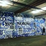 Philadelphia Glossblack Letter Collage Mural in Gym