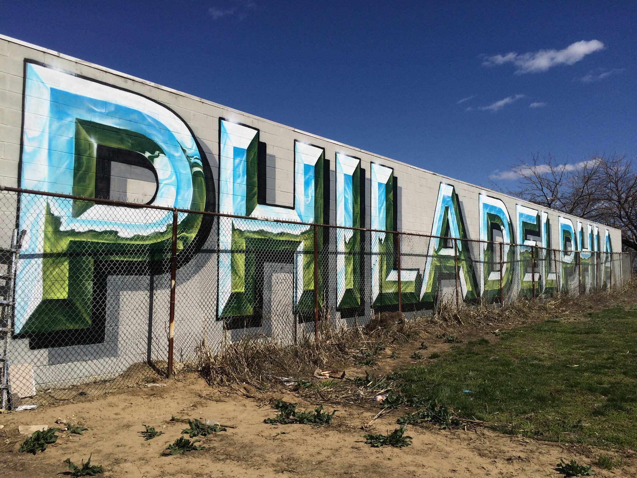 Metallic Philadelphia Large Scale Sign Painting