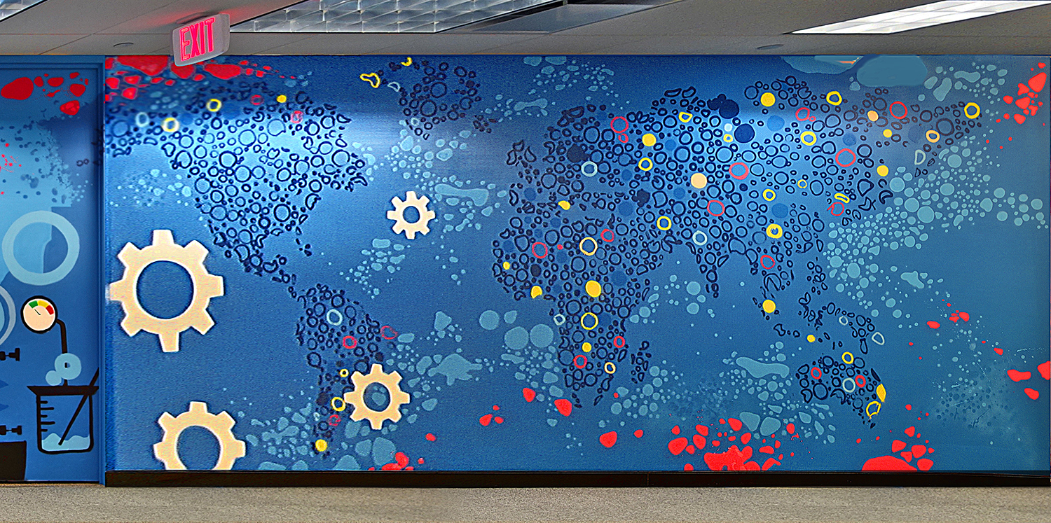 Ny corporate mural of world map graffiti usa for Corporate mural