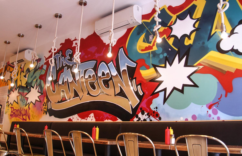 Graffiti wall usa - Brooklyn Wall Art Graffiti Design For Canteen