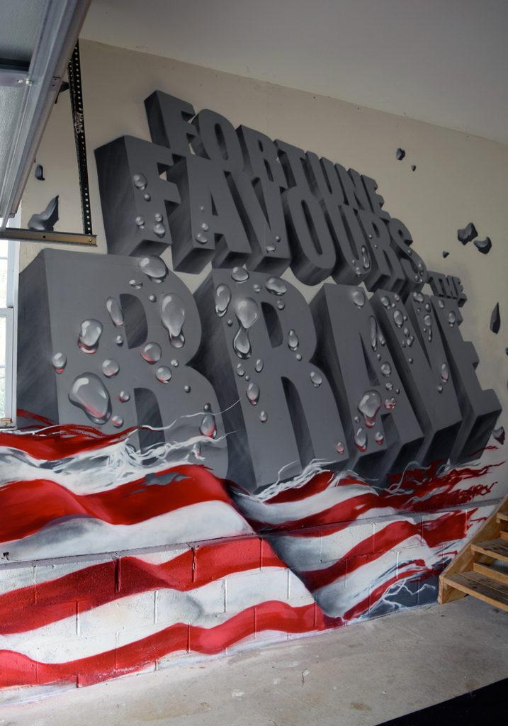 Inspirational Mural in NJ Home - Flag Image