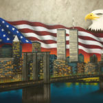 Miami Street Artist painting a NYC Skyline & Eagle