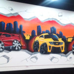 Cartoon Cars and Skyline in Miami - Mural Artwork