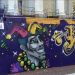 NoLa Graffiti Artist Painting Mural for Mardi Gras