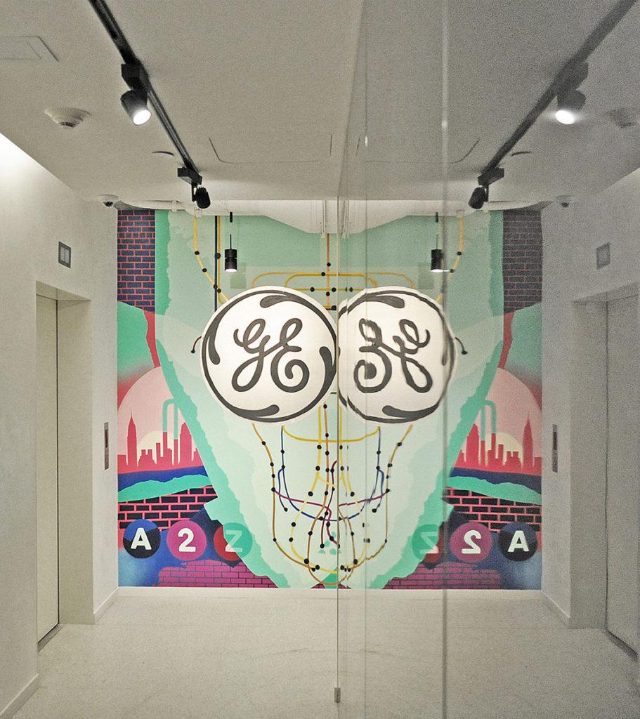 NY Interior Office Mural - GE Mirror Reflection