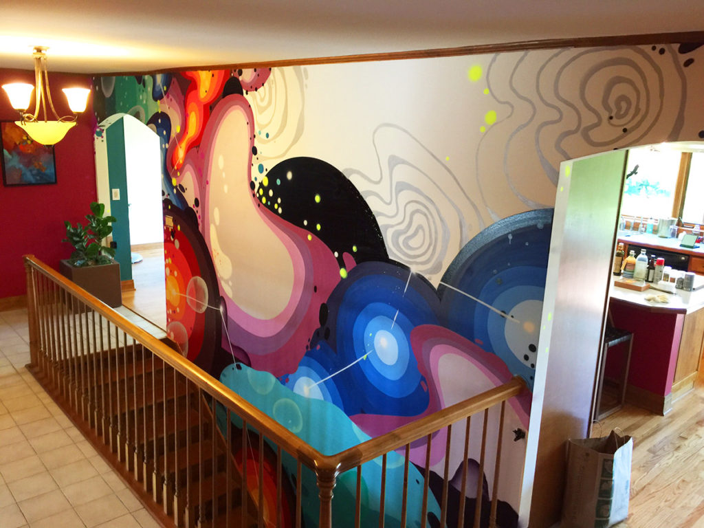 Chicago Abstract Mural in Illinois Stairway