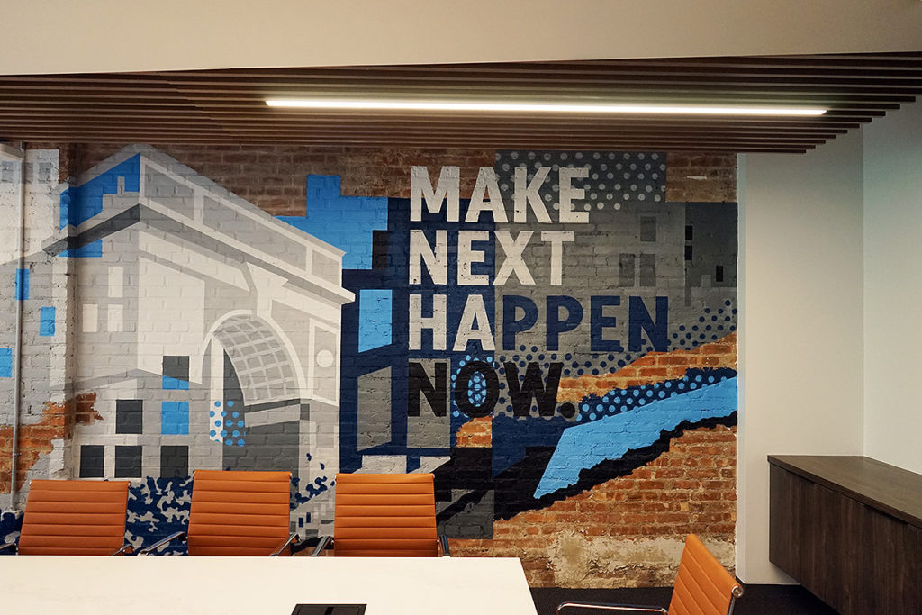 Office mural for silicon valley bank in nyc graffiti usa for Corporate mural