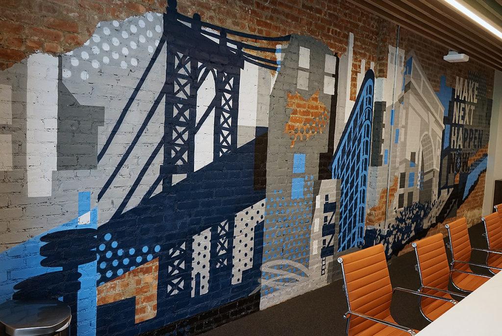 NYC Skyline Mural on Exposed Brick Wall
