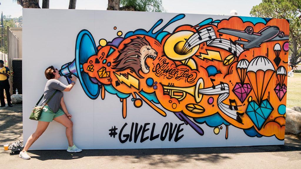 Interactive Give Love Graffiti Canvas In LA