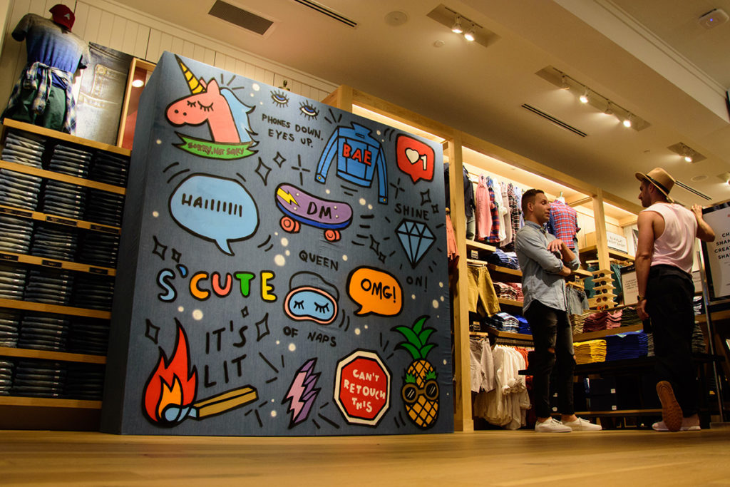 Interactive Denim Wall