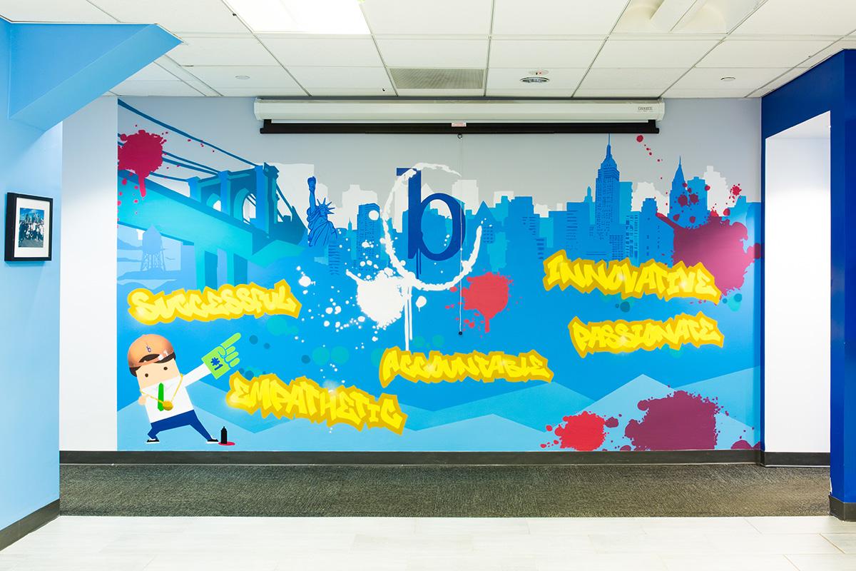 office graffiti wall. Painted Mural In Corporate Office Graffiti Wall