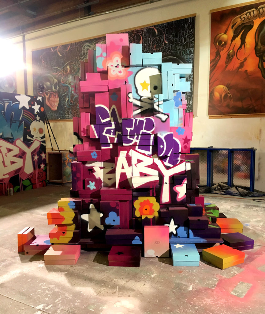 Fashion Brand Mural - LA UGG Shoe Box Sculpture