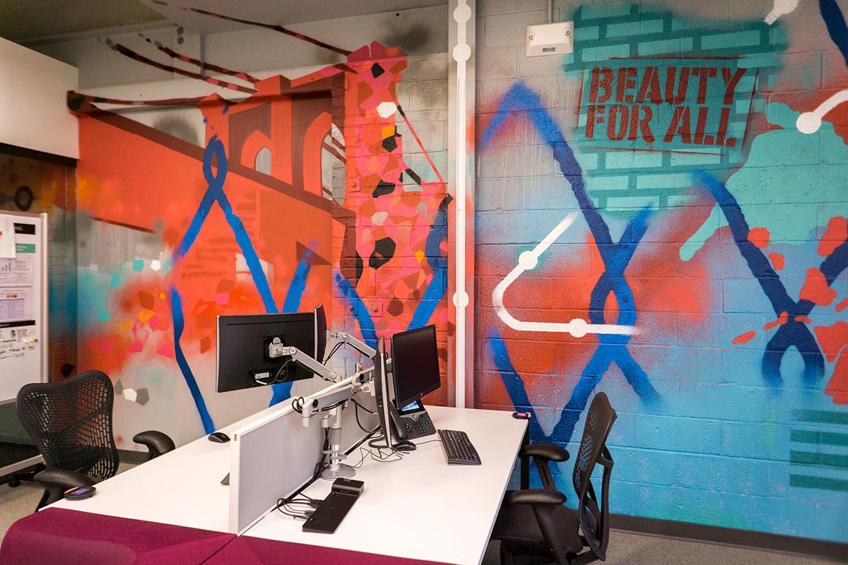 New Jersey office graffiti Brooklyn Bridge