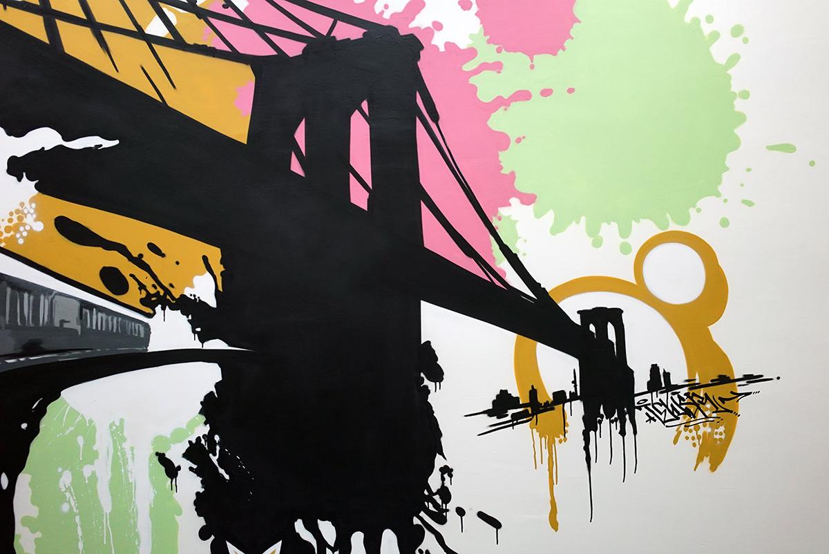 Brooklyn Bridge Graffiti Silhouette