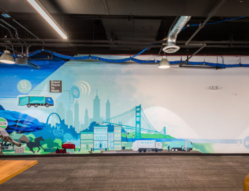 Office Murals for Atlanta's sustainable waste solutions company Rubicon