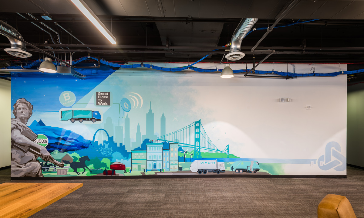 interior mural atlanta rubicon waste solutions company
