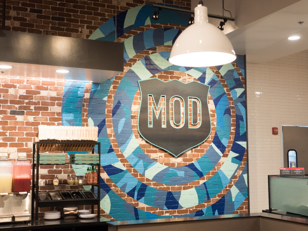mod pizza, restaurant, sign painting, california, bay area, san francisco, brush