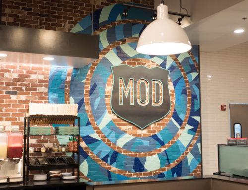 Concentric Circle Mural on Brick in El Cerrito, CA for Mod Pizza