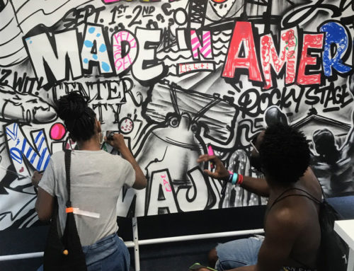 Coloring murals by Philadelphia graffiti artist for MIA Music Festival