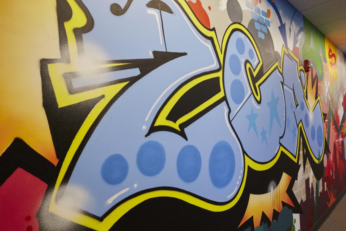 bright graffiti mural