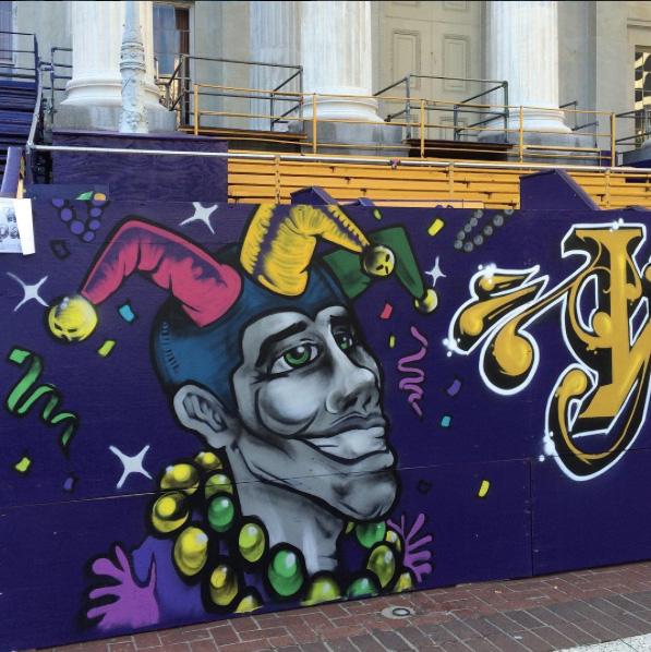 mardi gras graffiti mural