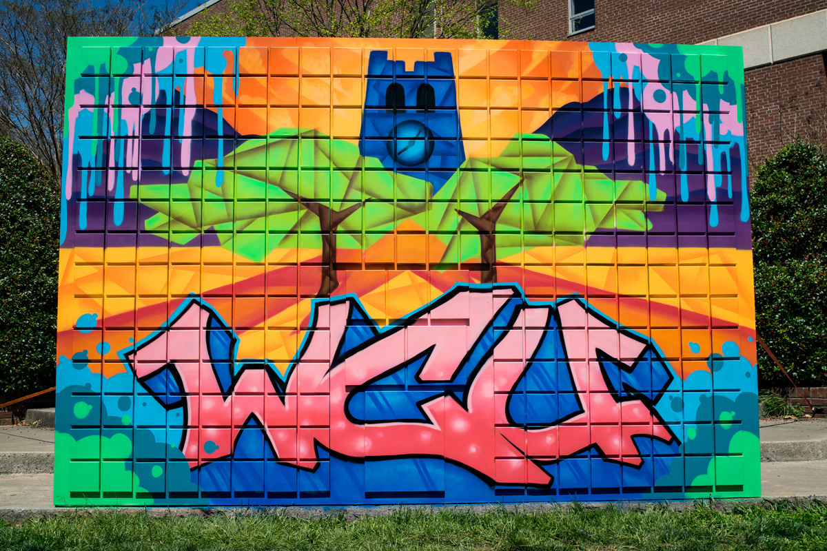 western carolinas university graffiti mural wall
