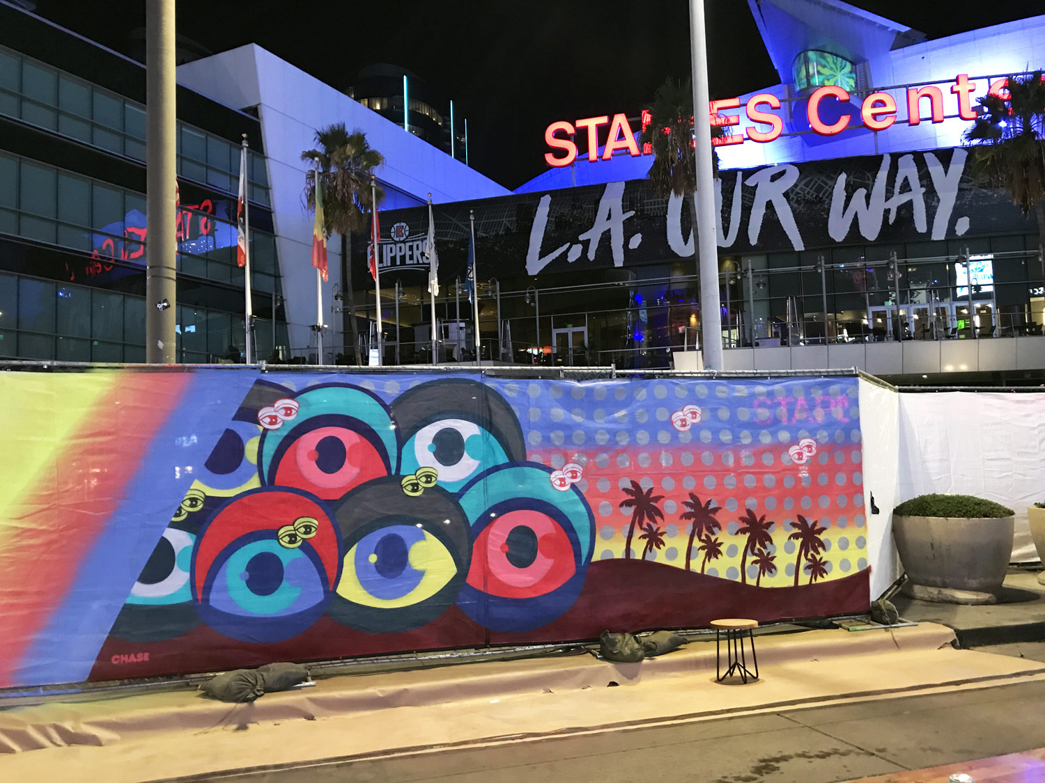 LA Live Staples Center Live Graffiti