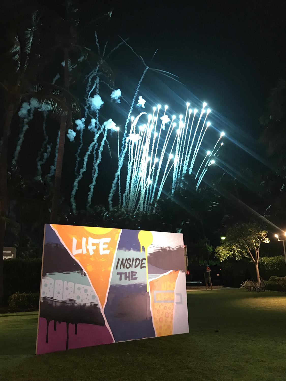 Fireworks with Graffiti Canvas in Miami
