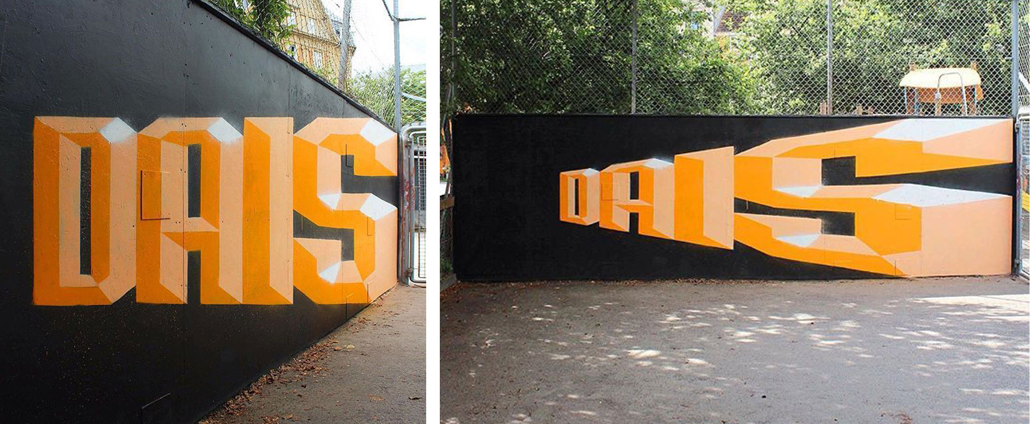 Anamorphic Text Graffiti Mural