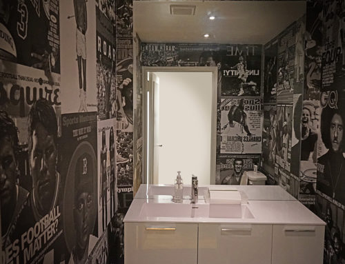 Wheat Paste Installation for Office Bathroom