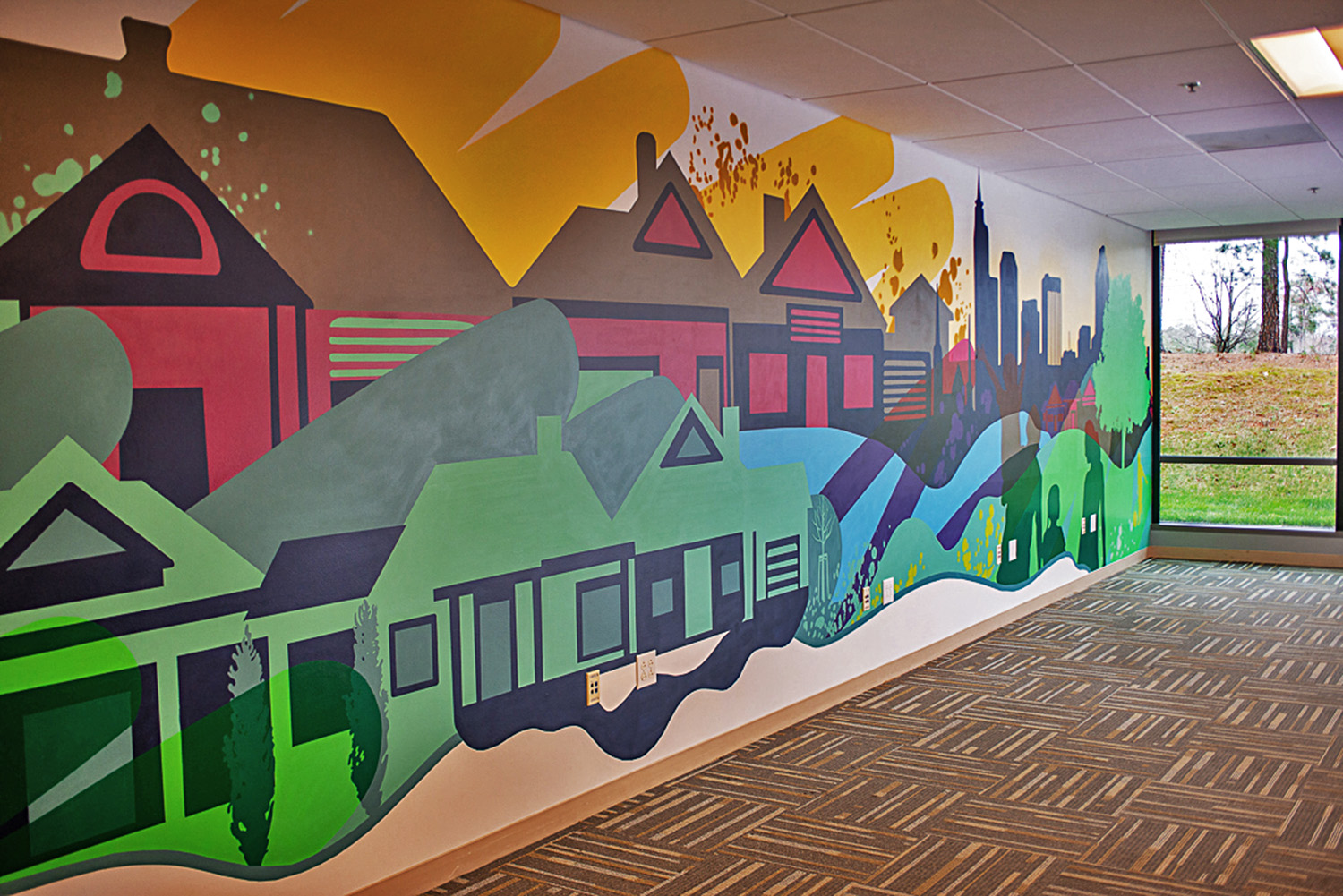 Raleigh Interior Office Mural - Left Profile