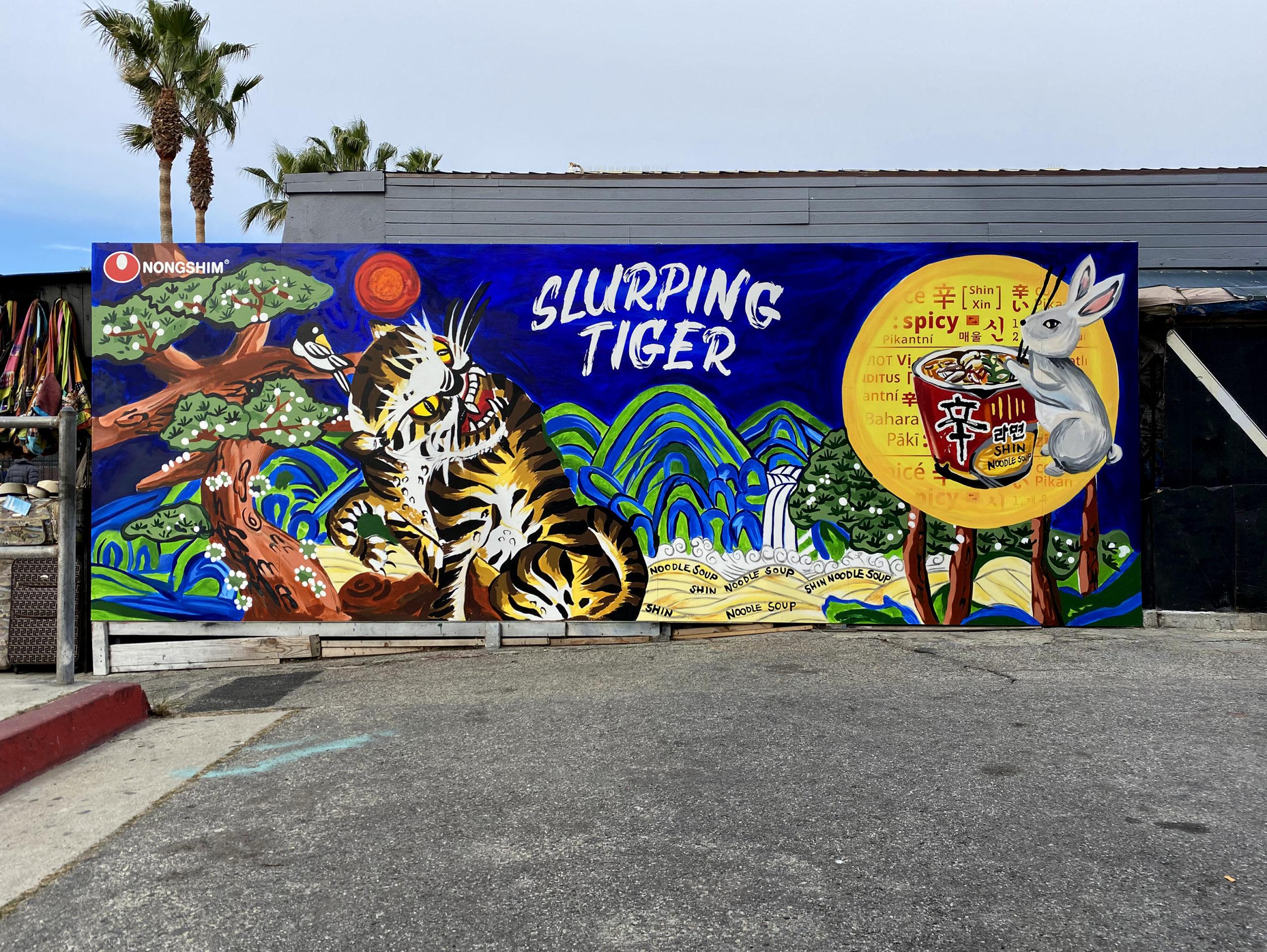 Slurping Tiger Mural in LA