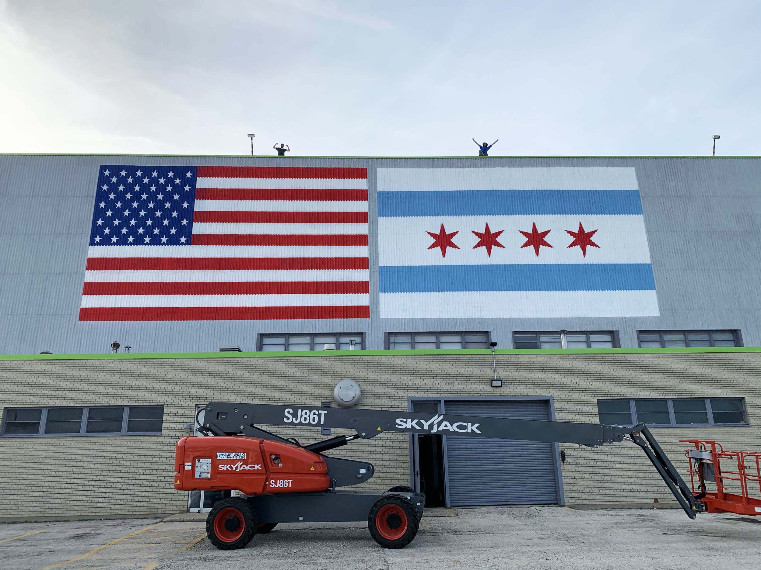 Flag Mural USA & Chicago at Airport